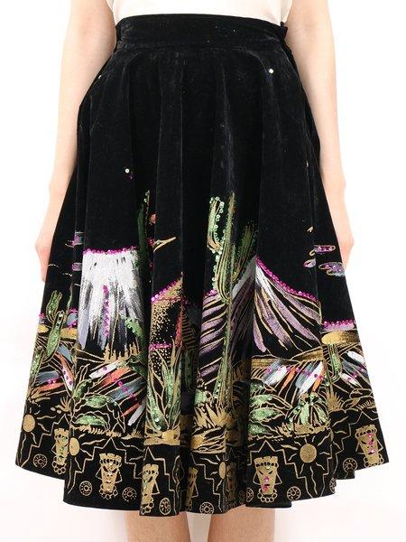 Vintage mexican hand painted velvet + sequin desert scape party skirt