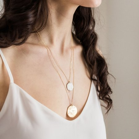 Mabel and Moss Sun + Moon Porcelain Pendant - Gold