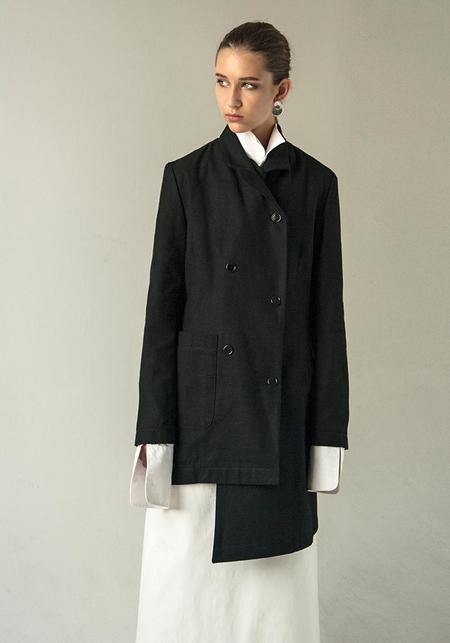 K M by L A N G E Linen Asymmetric Deconstructed Doubled Breasted Jacket - Waxed Black