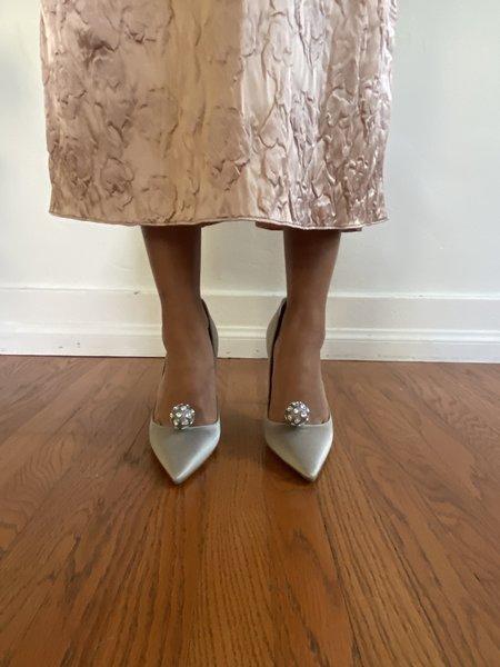 Pre-loved Christian Dior COMETE DISCO SATIN HEEL - silver