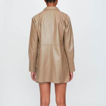 Just Female Marley Leather Shirt - pine bark