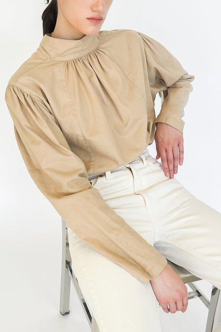 Vintage Pleated Full Sleeve Blouse - Beige