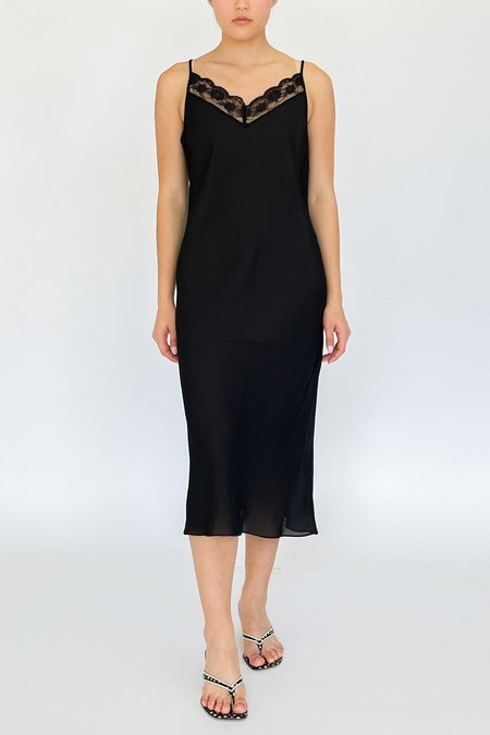 Vintage Sheer Slip Dress - black