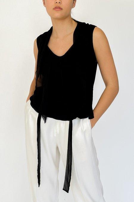 Vintage Silk Chiffon Paneled Tie Tank - Black