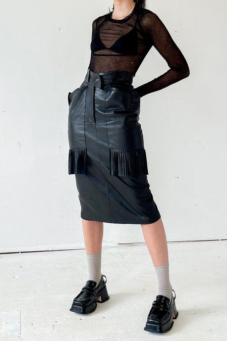 Vintage Claude Montana Lambskin Fringe Skirt - black
