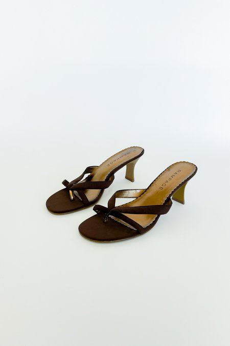 vintage Caroline Holley Strappy Thong Sandals - Cocoa