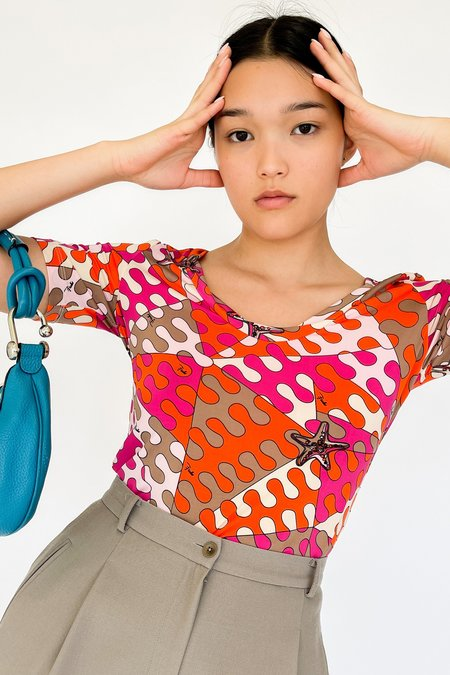 Vintage Emilio Pucci Abstract Print Top - red
