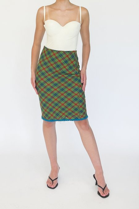 Vintage Plaid Wool Fitted Skirt - green