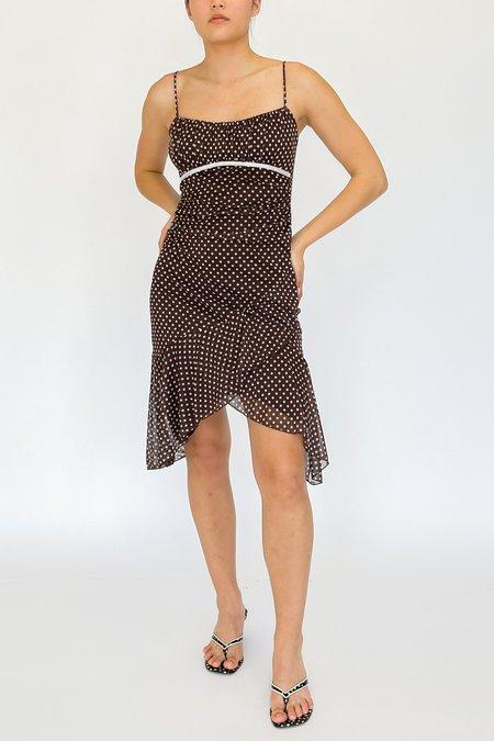 Vintage Polka Dot Ruched Dress - Cocoa