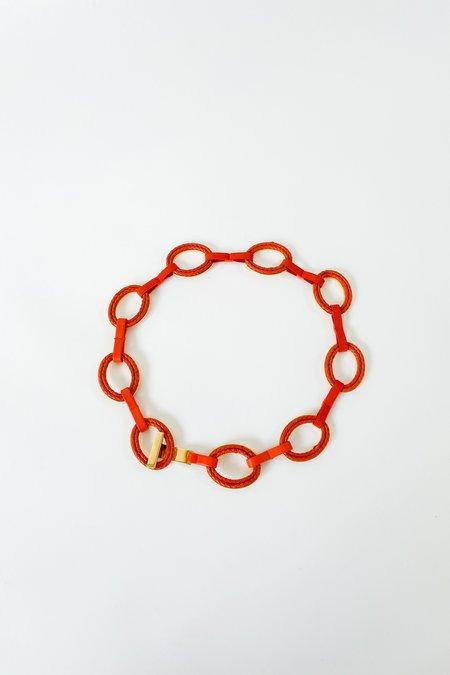 Vintage Shannon Evanhaus Braided Leather Belt - Tangerine