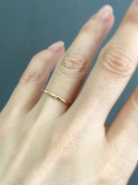 satomi kawakita single diamond band ring - Gold