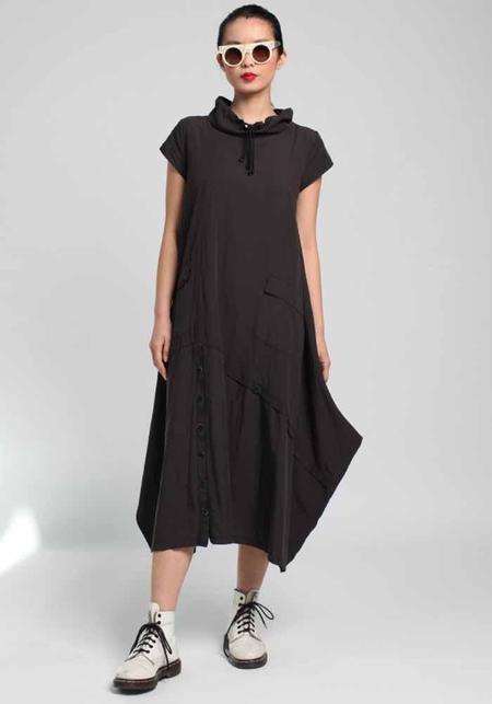 Lurdes Bergada Cap Sleeve Funnel Neck Dress