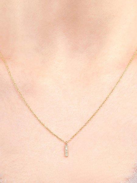 satomi kawakita small diamond bar necklace - Gold