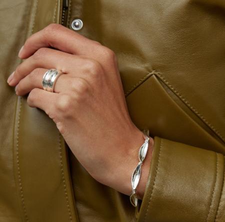 Jenny Bird Double Dune Ring - Silver