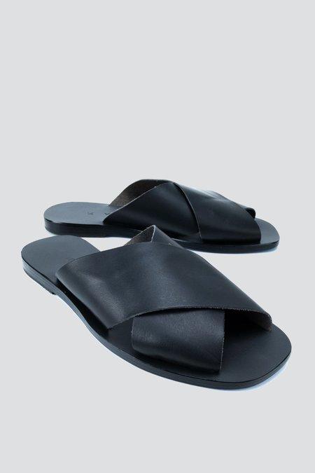 KYMA Leather Chios Square Sandal - BLACK