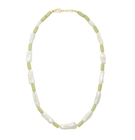 Machete Beaded Biwa Pearl Necklace - Sage