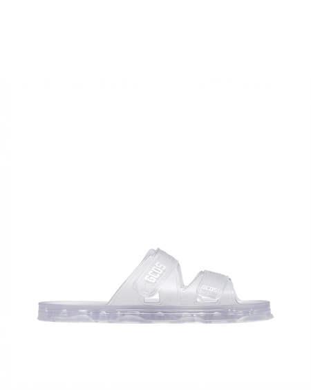 GCDS Logo transparent Sandals - white