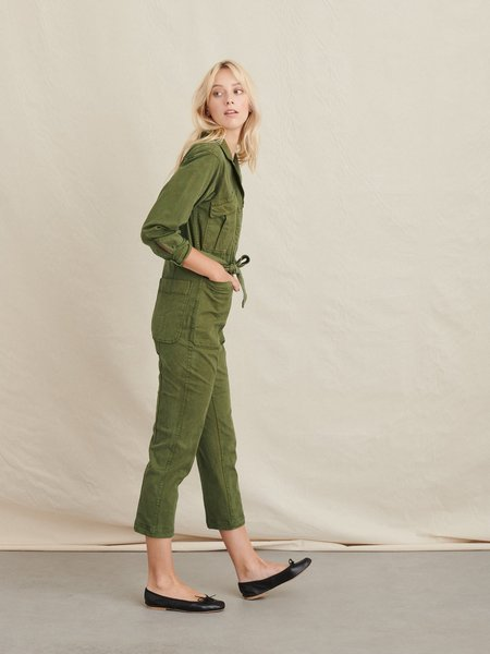 Concrete + Water Expedition Washed Twill Jumpsuit - Army Green