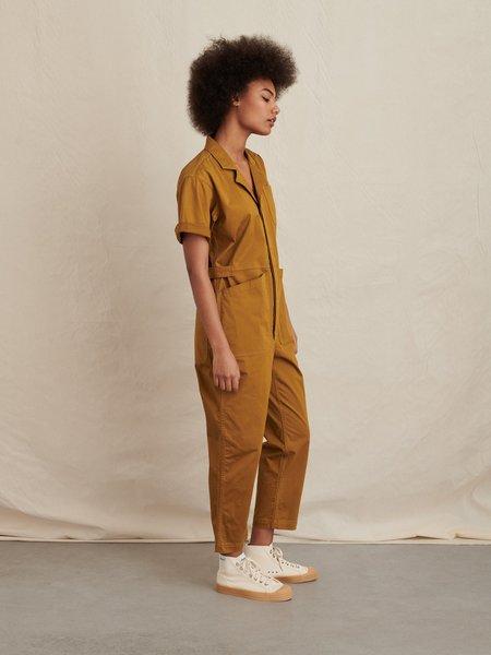 Alex Mill The Standard Short Sleeve Jumpsuit - Golden Khaki