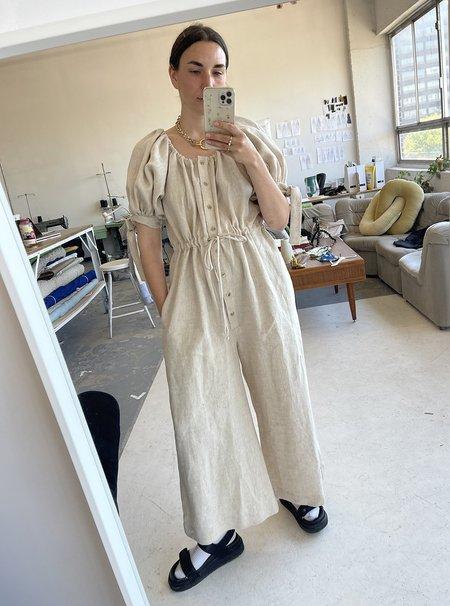Eliza Faulkner Raw Linen Jumpsuit - natural