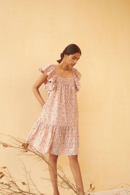 Kopal Dress - Peach Floral