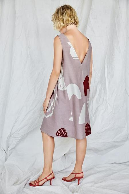 Eve Gravel Bardane Dress - Nutmeg Poterie Print