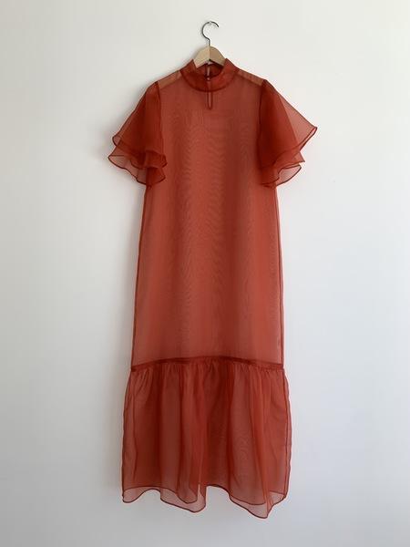 Kamperett Barre Silk Organza Dress - Rust