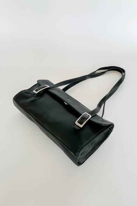 VINTAGE Leather Buckle Baguette Purse BAG - Black