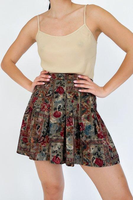 Vintage Collage Print Pleated Skirt - Flower Paisley
