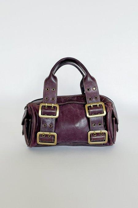 Vintage Leather Buckle Mini Purse - Plum