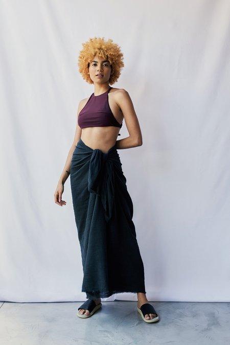 at Dawn. Gauze Sarong skirt - Black Ink
