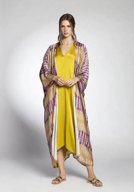 Join Clothes Flowing Tie Dye Abaya Robe - Beige