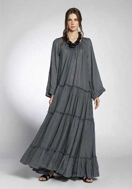Join Clothes Linen Gauze Long Sleeve Maxi Dress - Pebble