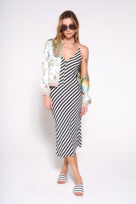 Aquarius Cocktail OLIVE dress - Black White Stripe