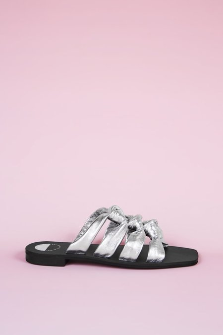 """""""INTENTIONALLY __________."""" Please Advise Sandals - Silver"""