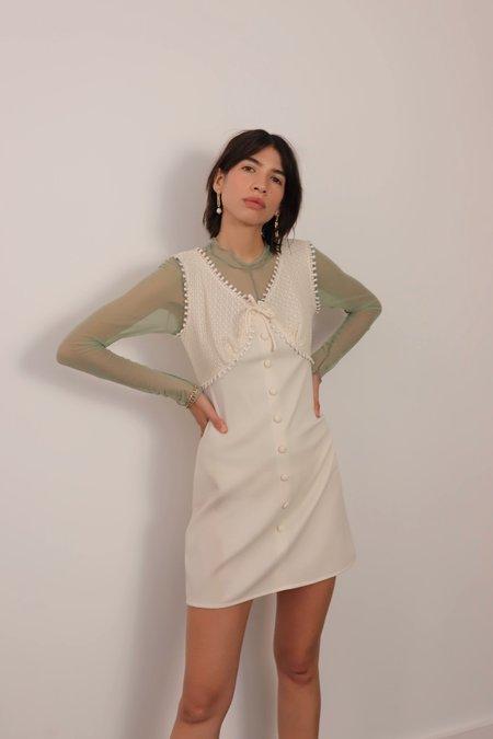 Vintage Crochet Bust Mini Dress - Ivory
