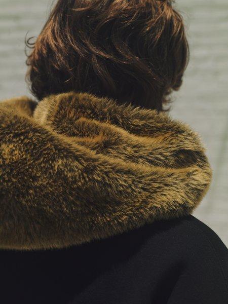 Marni Chainstitch Faux Fur Logo Hoodie SWEATER - Black