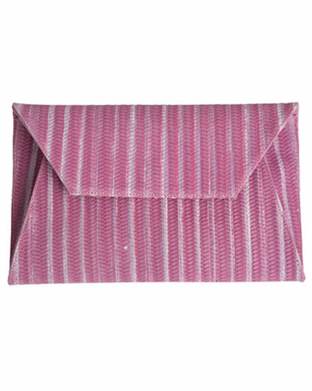 Oliveve cleo envelope clutch in lilac woven cow leather
