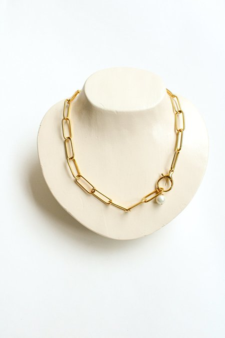 Pre-loved Butter Paper Clip Pearl Necklace - Gold