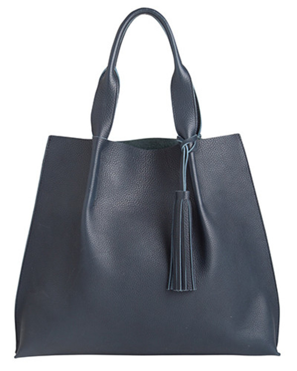 maggie tote in navy pebble leather with leather tassel