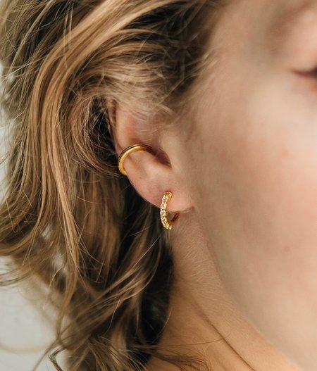 Sierra Winter Jewelry Karma Hoop Earrings - Gold Vermeil/White Topaz