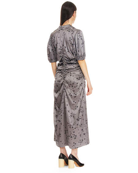 Ganni V-Neck Silk Dress - Gray