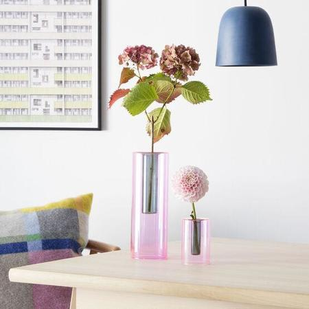 Block Design Reversible Glass Vase - Pink/Green