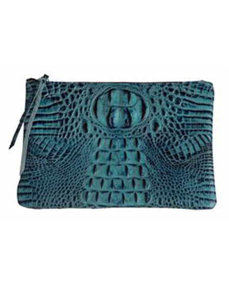 Oliveve queenie in teal cobra italian embossed cow leather