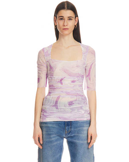 Ganni Shirt with Rouches - Pink/White