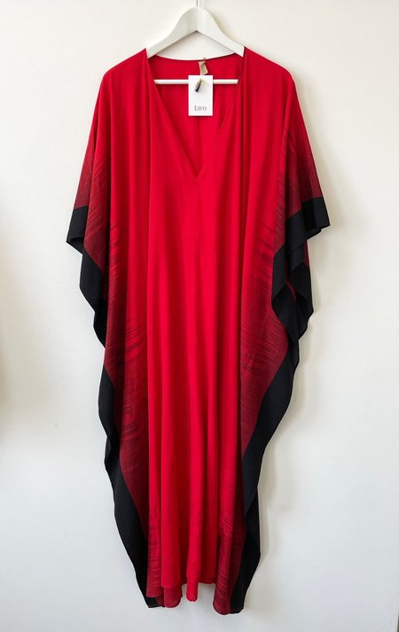Two Long ikat V Caftan - Red