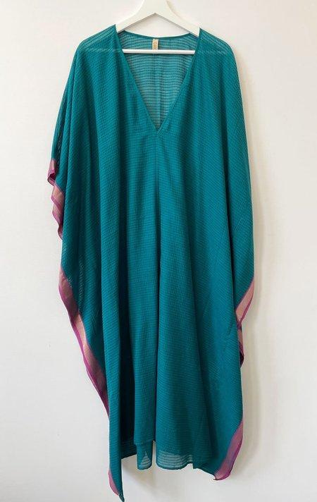 Two Kantha Stitch Caftan - Emerald Green