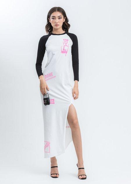 we11done All Over Logo Printed Raglan Sleeve Jersey Maxi Dress - black