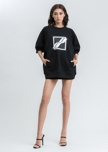 we11done Half Pocket Raglan Short Sleeve Sweater - Black