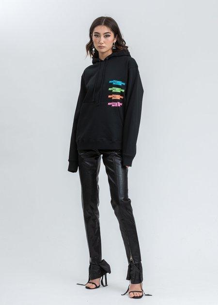we11done Multi Color Logo Hoodie sweater - Black